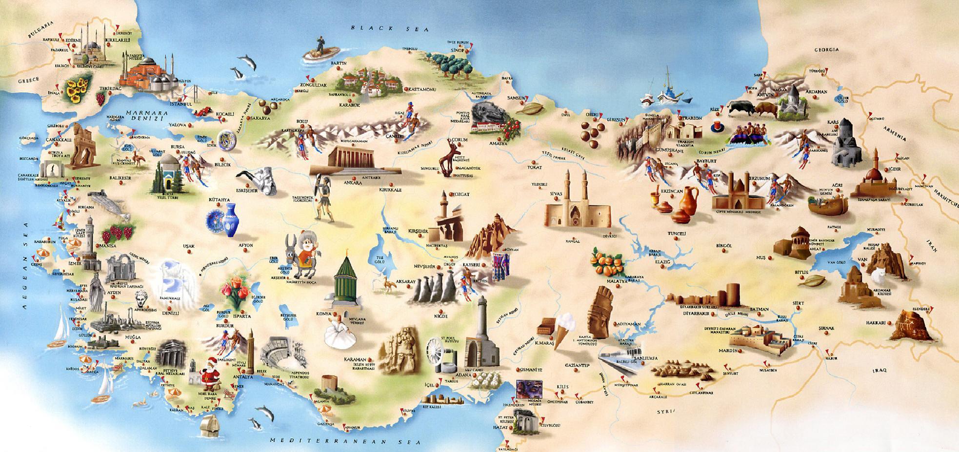 Carte Touristique Asie.Turquie Carte Du Tourisme Turquie Carte Touristique Asie
